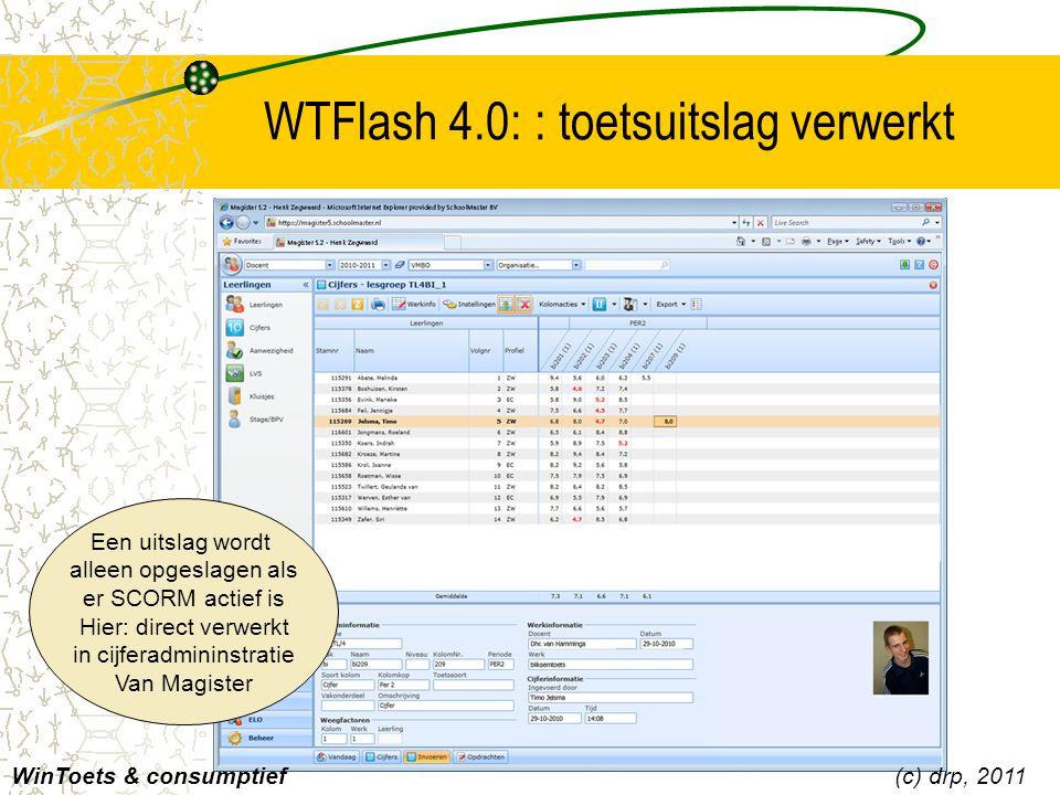 WTFlash 4.0: : toetsuitslag verwerkt
