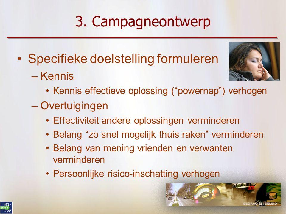 3. Campagneontwerp Specifieke doelstelling formuleren Kennis