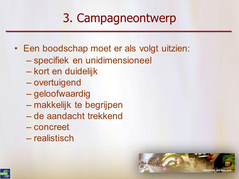 3. Campagneontwerp Een boodschap moet er als volgt uitzien: