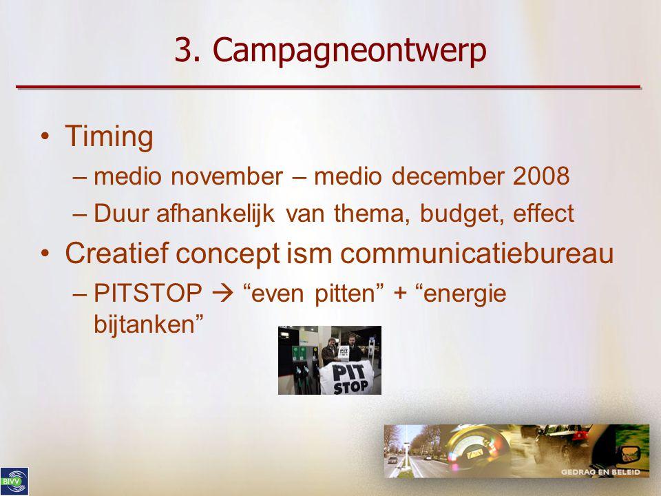 3. Campagneontwerp Timing Creatief concept ism communicatiebureau