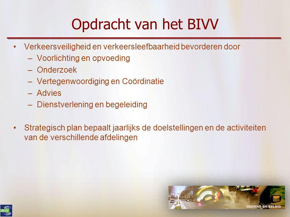 Opdracht van het BIVV Verkeersveiligheid en verkeersleefbaarheid bevorderen door. Voorlichting en opvoeding.