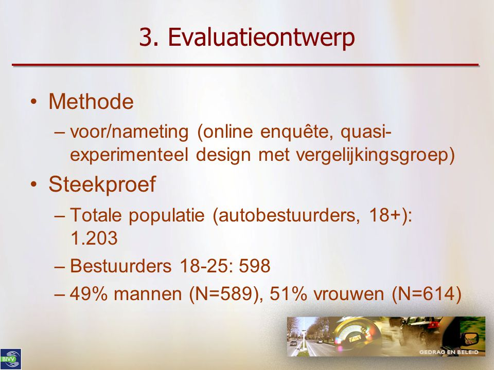 3. Evaluatieontwerp Methode Steekproef