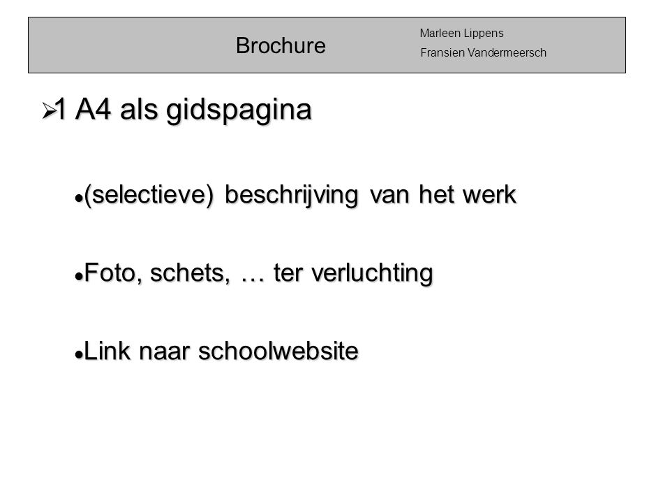 1 A4 als gidspagina (selectieve) beschrijving van het werk