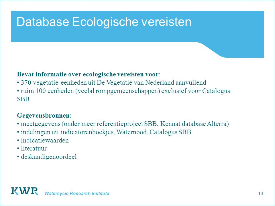 Database Ecologische vereisten