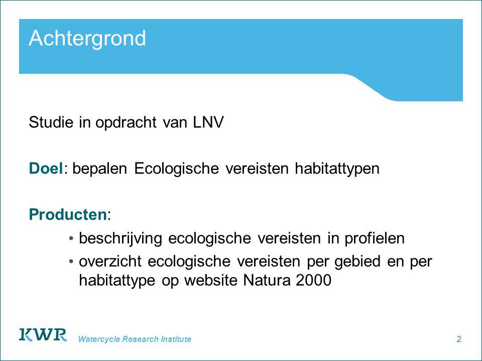 Achtergrond Studie in opdracht van LNV