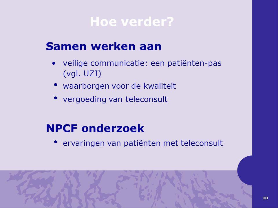 Hoe verder Samen werken aan NPCF onderzoek