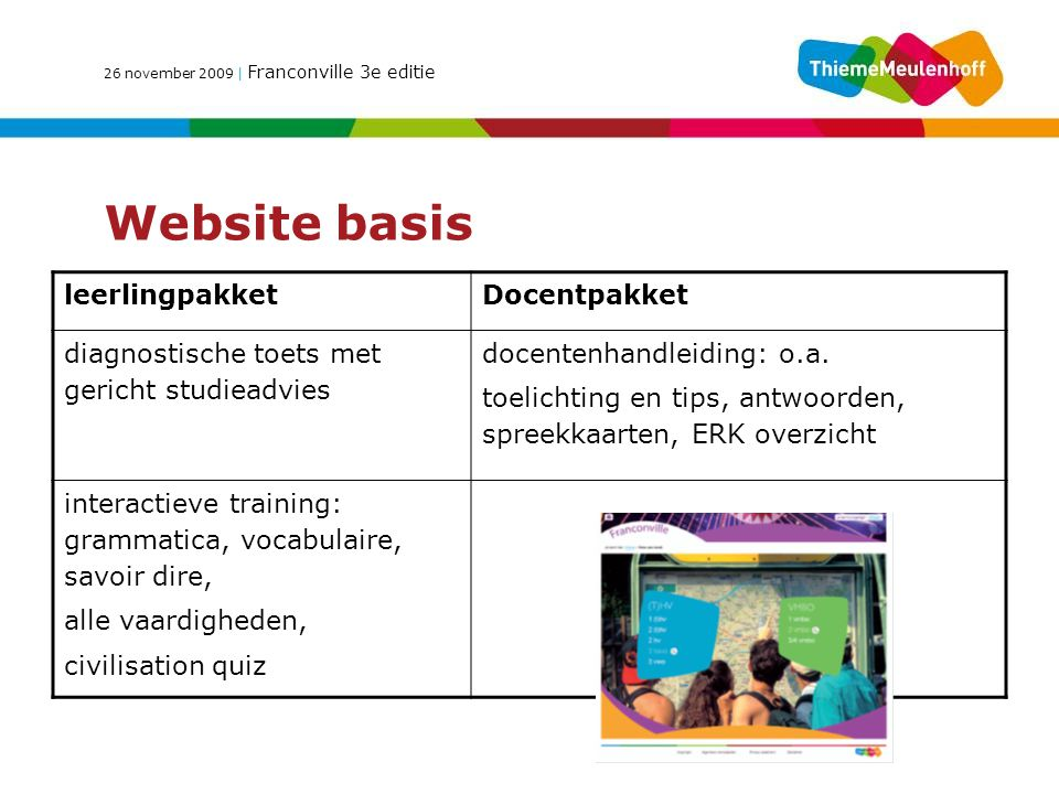 Website basis leerlingpakket Docentpakket
