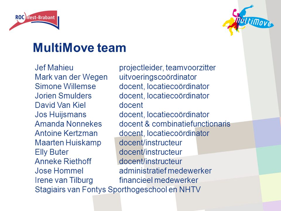 MultiMove team Jef Mahieu projectleider, teamvoorzitter