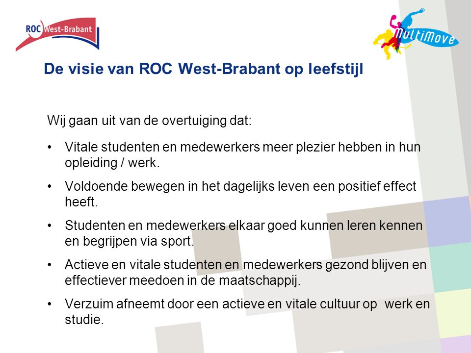 De visie van ROC West-Brabant op leefstijl