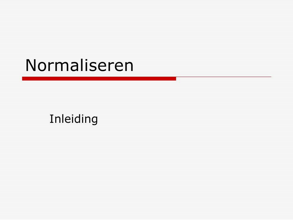 Normaliseren Inleiding