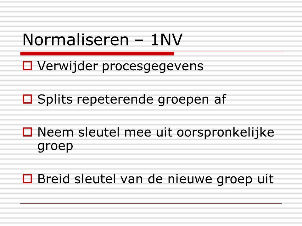 Normaliseren – 1NV Verwijder procesgegevens