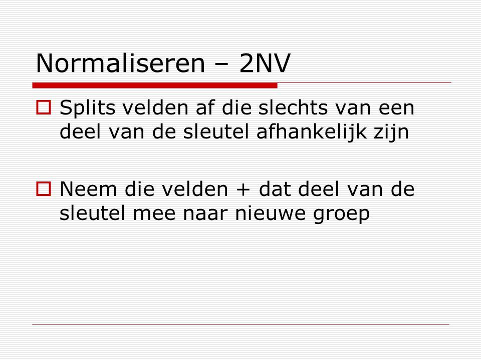 Normaliseren – 2NV Splits velden af die slechts van een deel van de sleutel afhankelijk zijn.