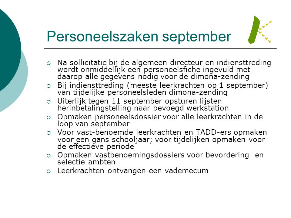 Personeelszaken september