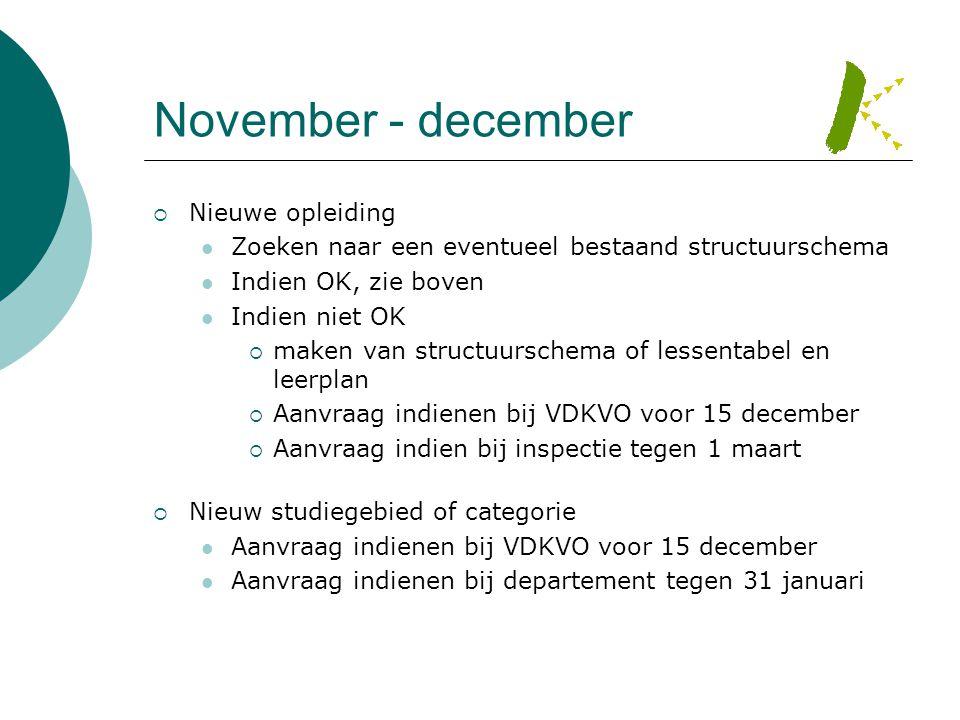 November - december Nieuwe opleiding