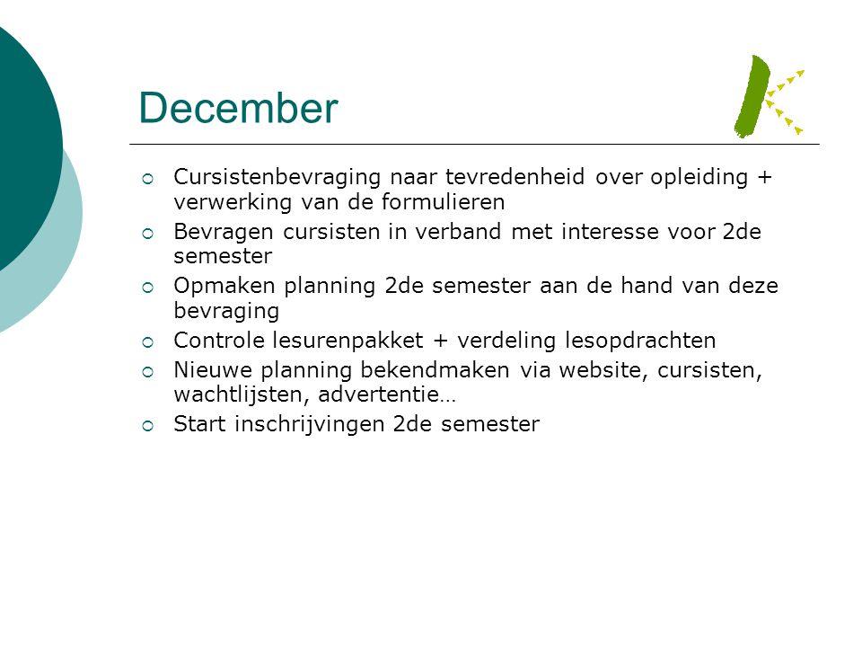December Cursistenbevraging naar tevredenheid over opleiding + verwerking van de formulieren.