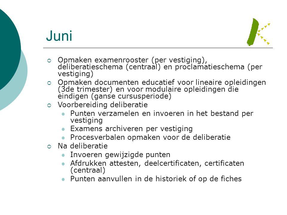 Juni Opmaken examenrooster (per vestiging), deliberatieschema (centraal) en proclamatieschema (per vestiging)