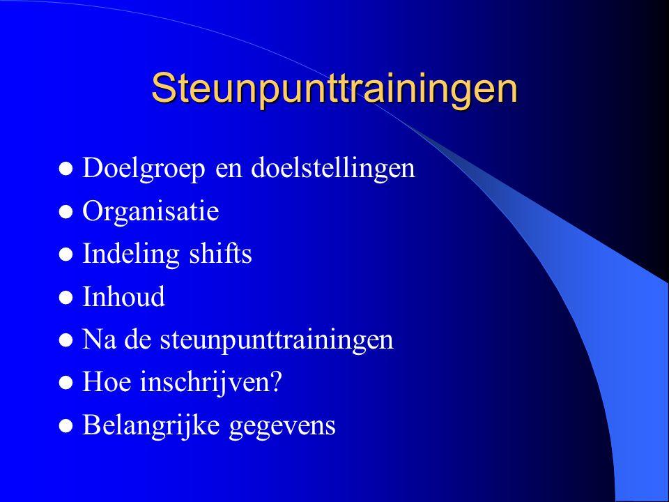 Steunpunttrainingen Doelgroep en doelstellingen Organisatie