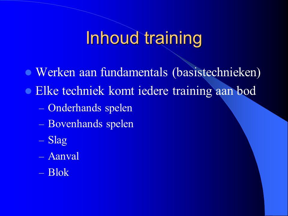 Inhoud training Werken aan fundamentals (basistechnieken)