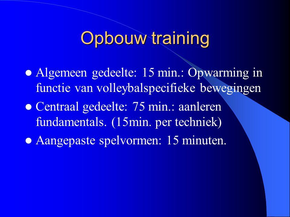 Opbouw training Algemeen gedeelte: 15 min.: Opwarming in functie van volleybalspecifieke bewegingen.
