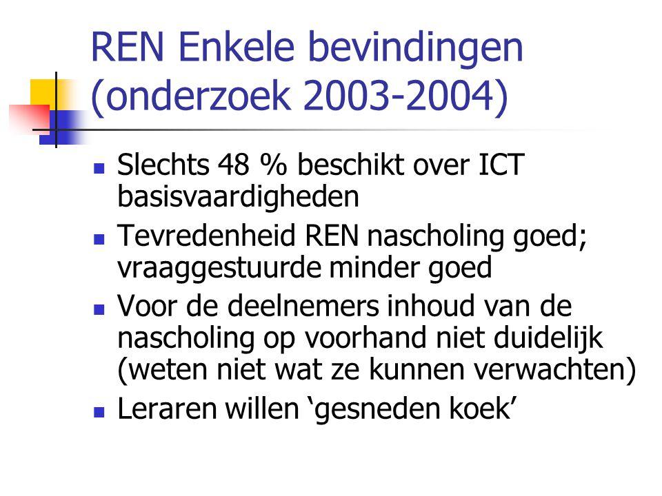 REN Enkele bevindingen (onderzoek 2003-2004)