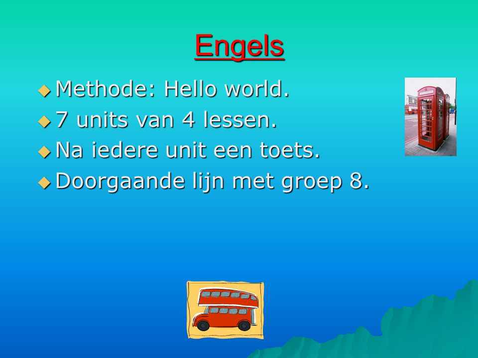 Engels Methode: Hello world. 7 units van 4 lessen.
