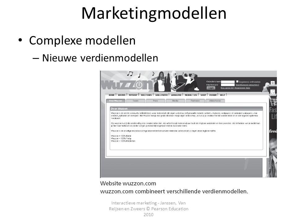 Marketingmodellen Complexe modellen Nieuwe verdienmodellen