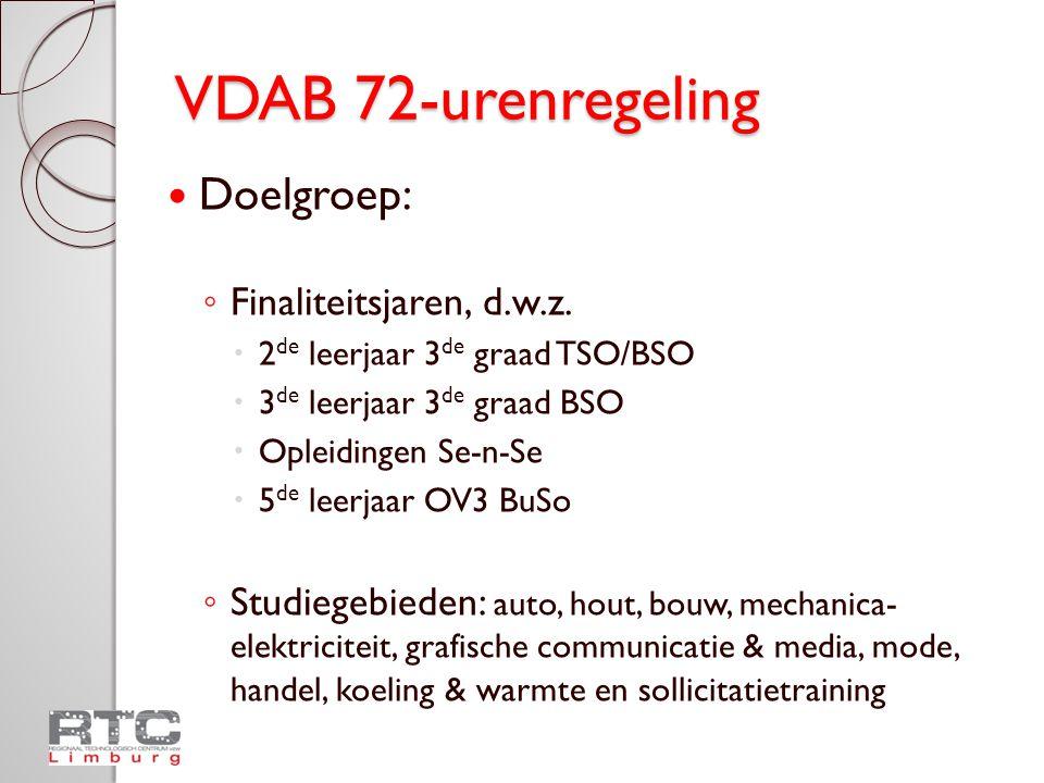 VDAB 72-urenregeling Doelgroep: Finaliteitsjaren, d.w.z.