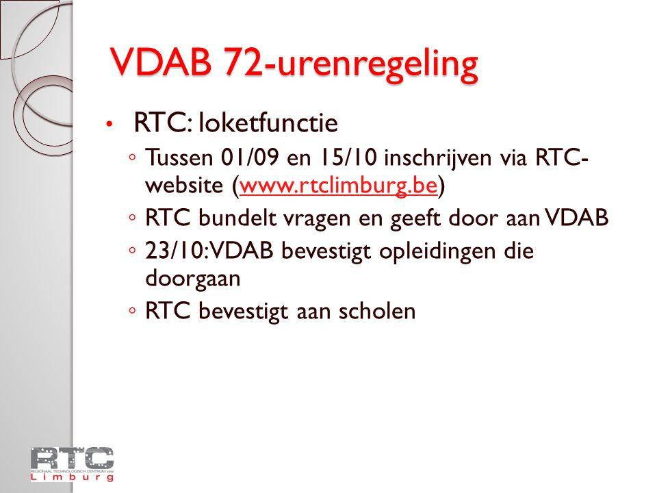 VDAB 72-urenregeling RTC: loketfunctie