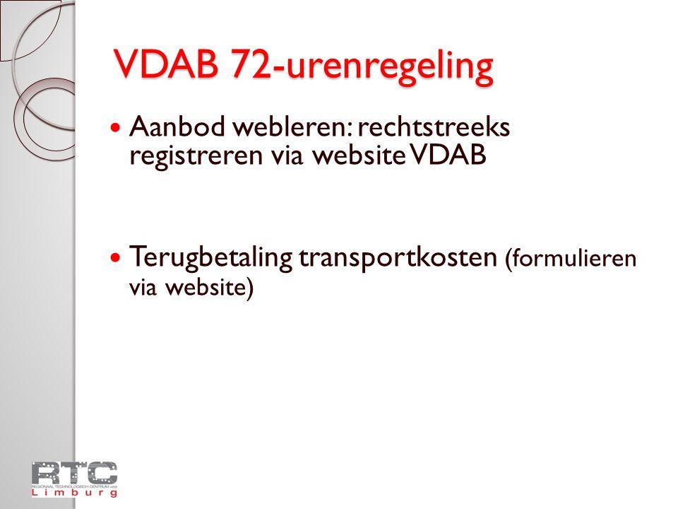 VDAB 72-urenregeling Aanbod webleren: rechtstreeks registreren via website VDAB.