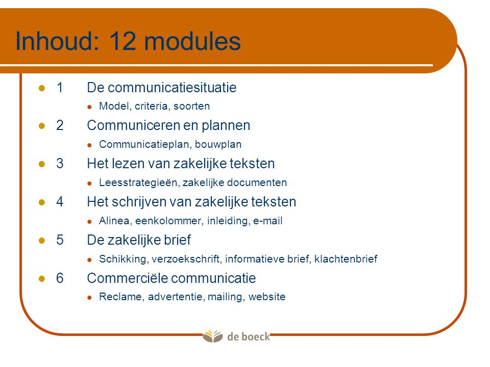 Inhoud: 12 modules 1 De communicatiesituatie 2 Communiceren en plannen