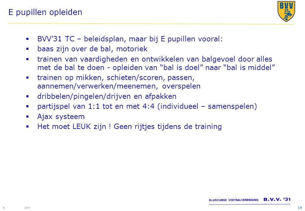 E pupillen opleiden BVV'31 TC – beleidsplan, maar bij E pupillen vooral: baas zijn over de bal, motoriek.