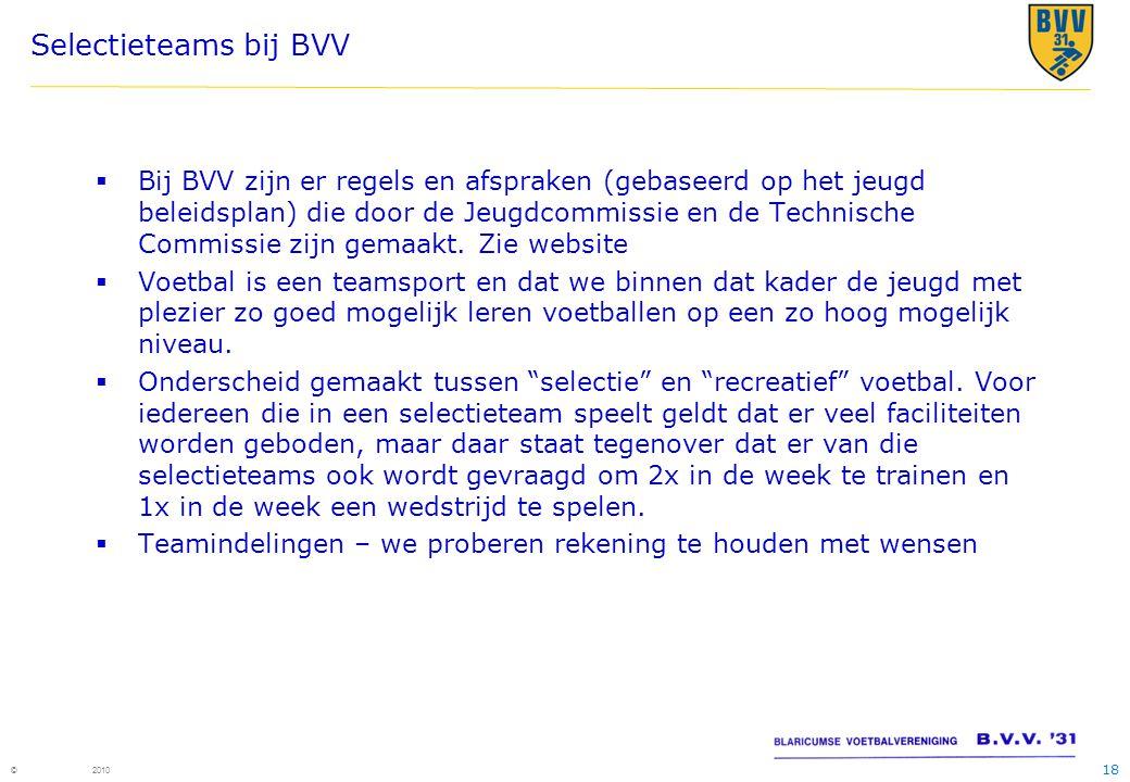 Selectieteams bij BVV