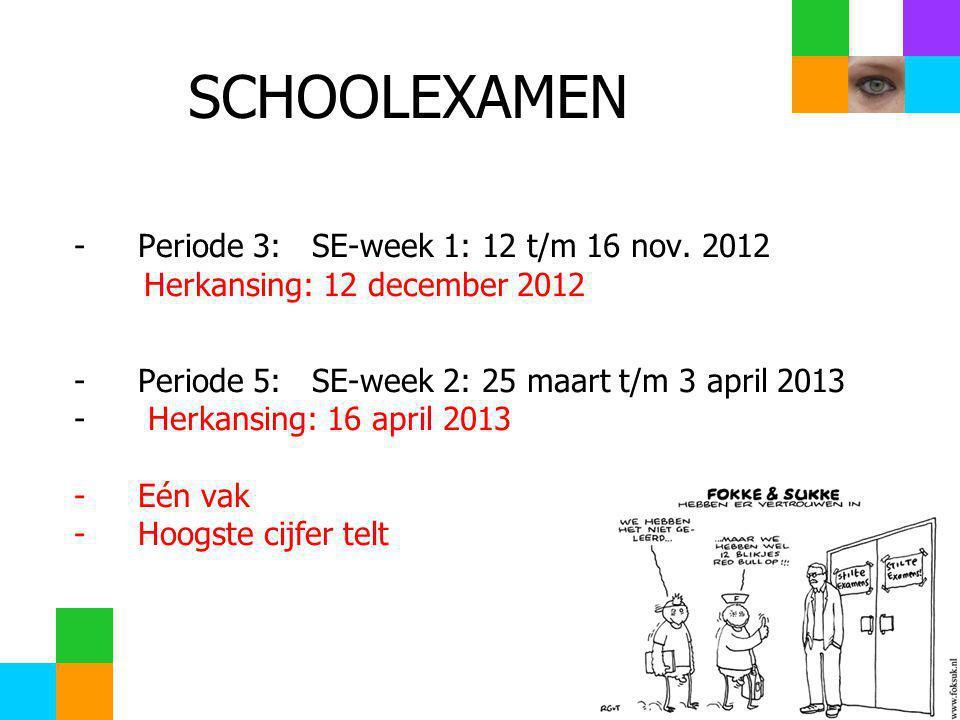 SCHOOLEXAMEN Periode 3: SE-week 1: 12 t/m 16 nov. 2012