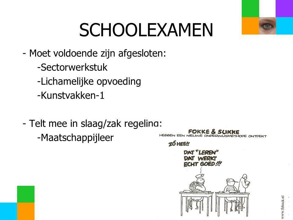 SCHOOLEXAMEN - Moet voldoende zijn afgesloten: Sectorwerkstuk