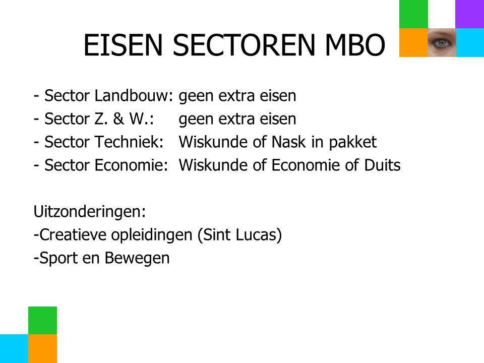 EISEN SECTOREN MBO - Sector Landbouw: geen extra eisen