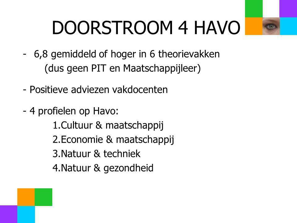 DOORSTROOM 4 HAVO 6,8 gemiddeld of hoger in 6 theorievakken