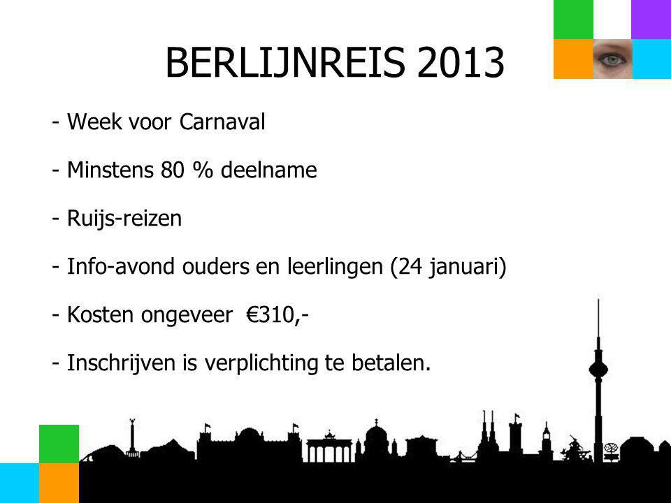 BERLIJNREIS 2013 Week voor Carnaval Minstens 80 % deelname