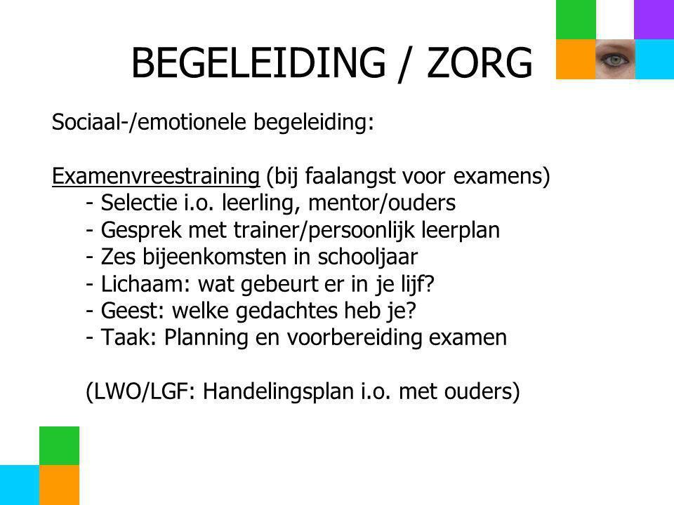 BEGELEIDING / ZORG Sociaal-/emotionele begeleiding: