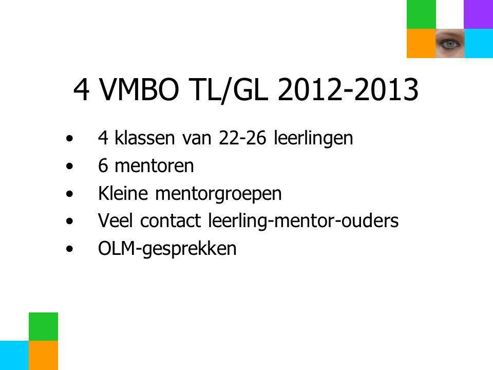 4 VMBO TL/GL 2012-2013 4 klassen van 22-26 leerlingen 6 mentoren