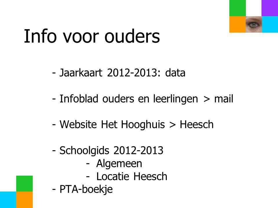 Info voor ouders Jaarkaart 2012-2013: data