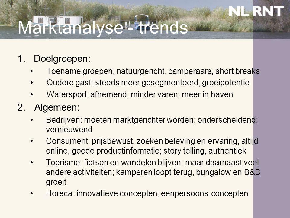 Marktanalyse - trends Doelgroepen: Algemeen: