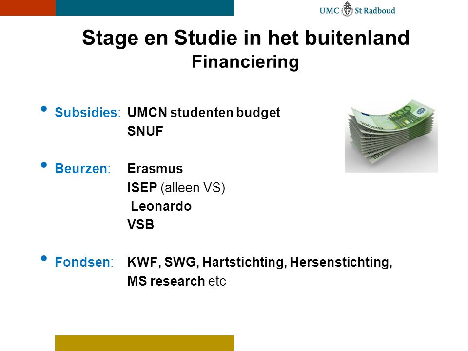 Stage en Studie in het buitenland Financiering