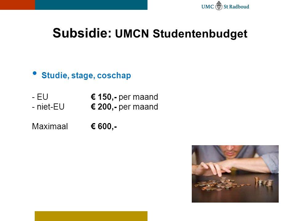 Subsidie: UMCN Studentenbudget