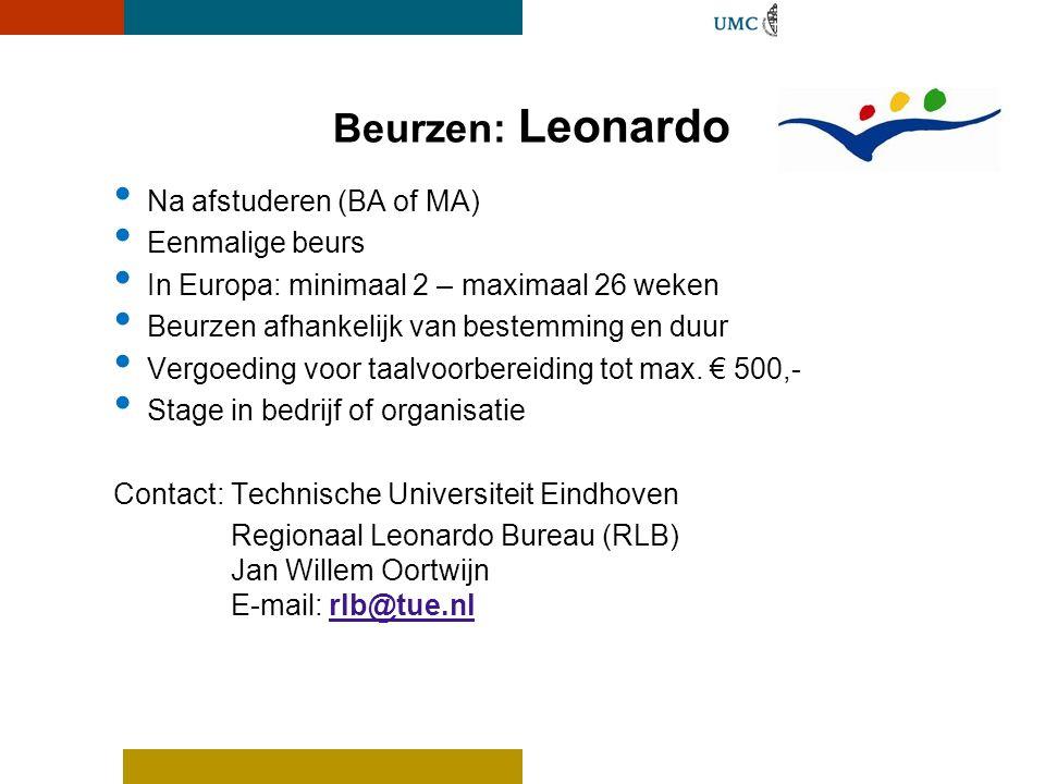 Beurzen: Leonardo Na afstuderen (BA of MA) Eenmalige beurs