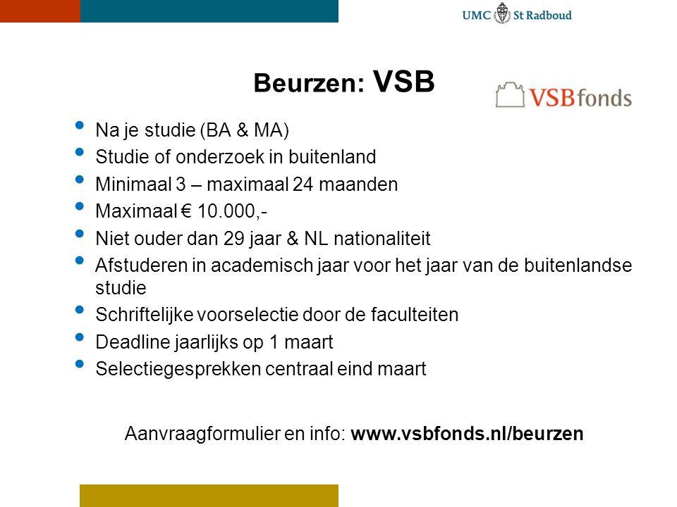 Aanvraagformulier en info: www.vsbfonds.nl/beurzen
