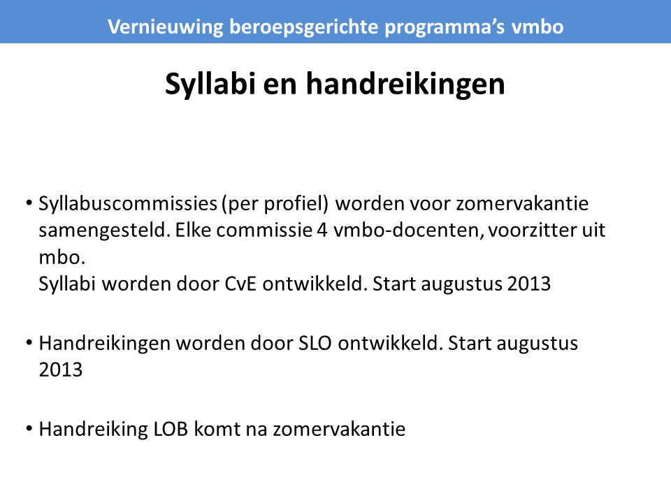 Syllabi en handreikingen