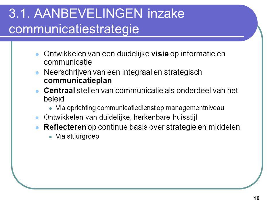 3.1. AANBEVELINGEN inzake communicatiestrategie