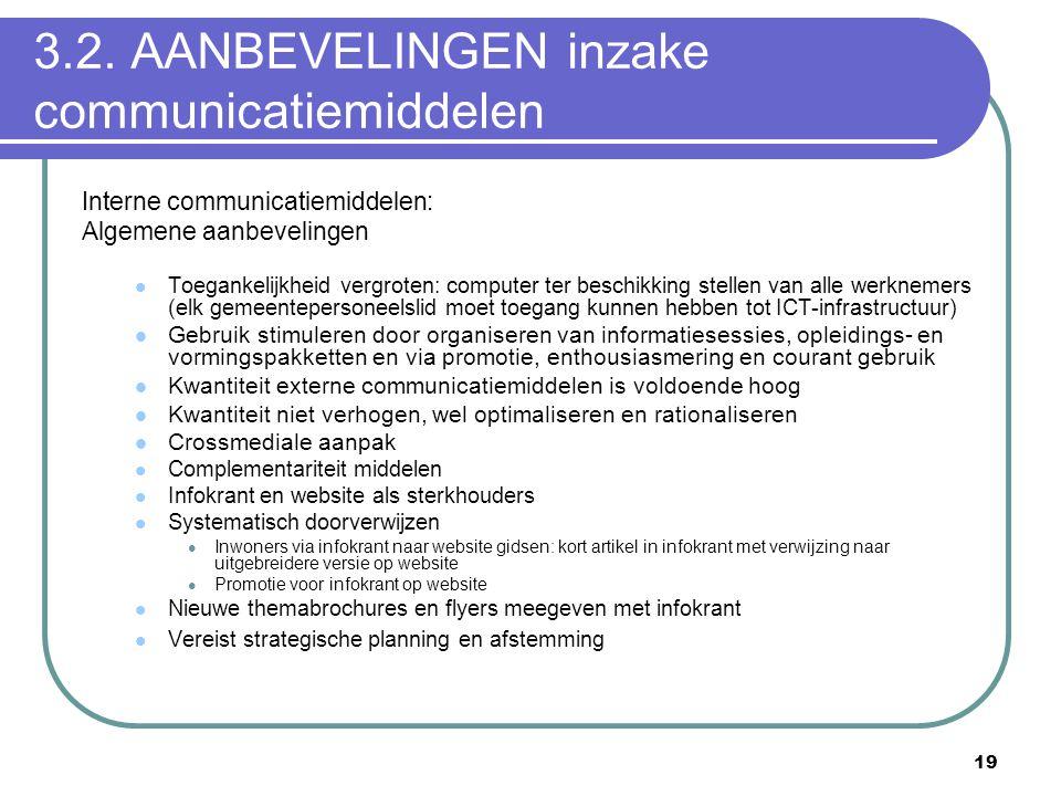3.2. AANBEVELINGEN inzake communicatiemiddelen