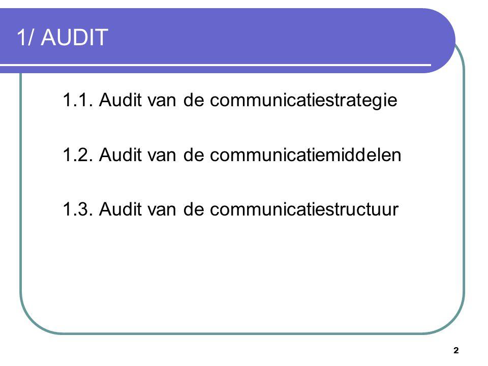 1/ AUDIT 1.1. Audit van de communicatiestrategie