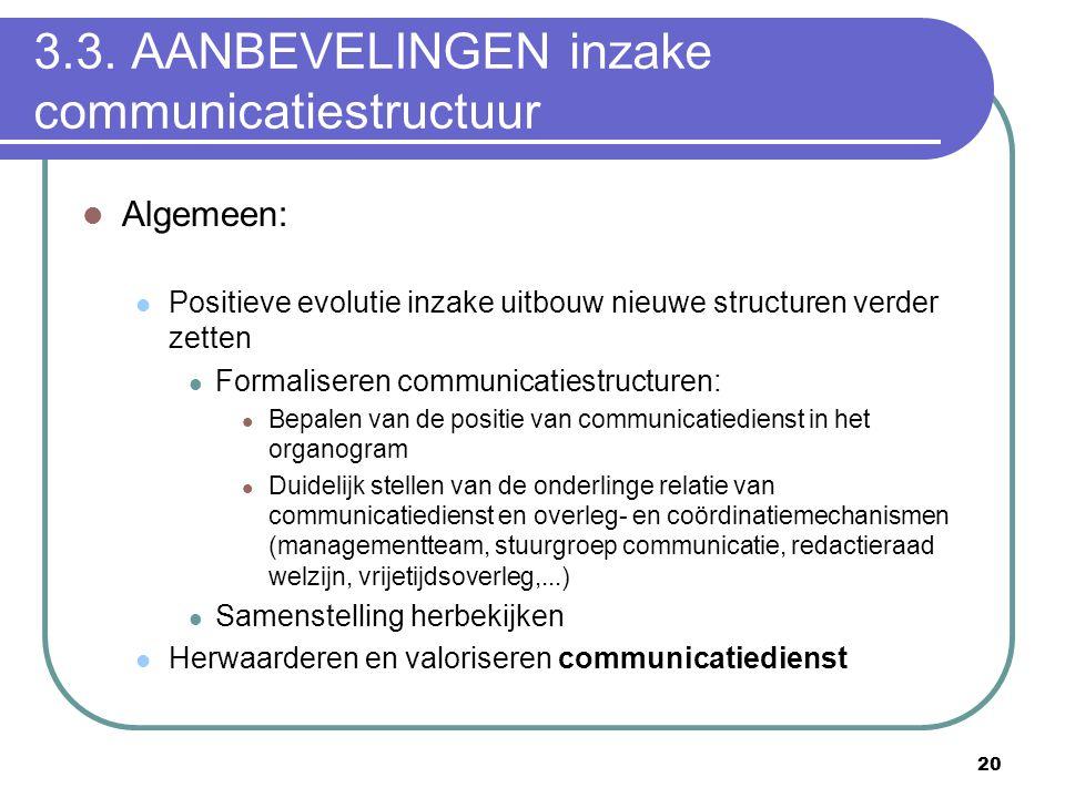 3.3. AANBEVELINGEN inzake communicatiestructuur